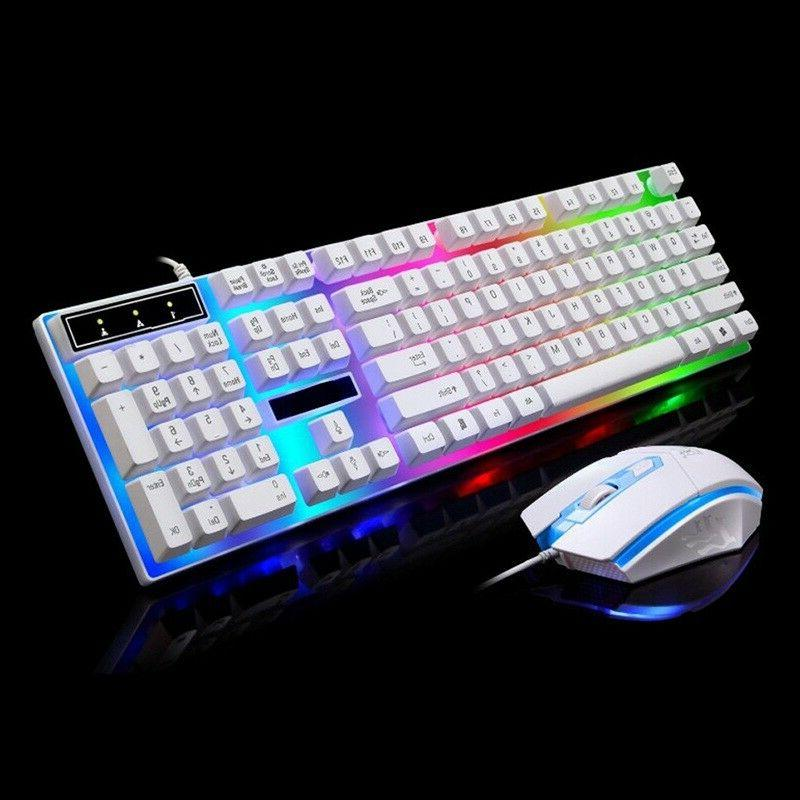 Computer Desktop Glowing Keyboard And Mouse Set Game