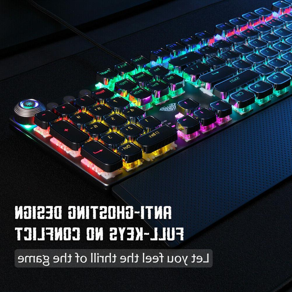 AULA F2058 Mechanical 104 Keys Punk PC Gaming Keyboards