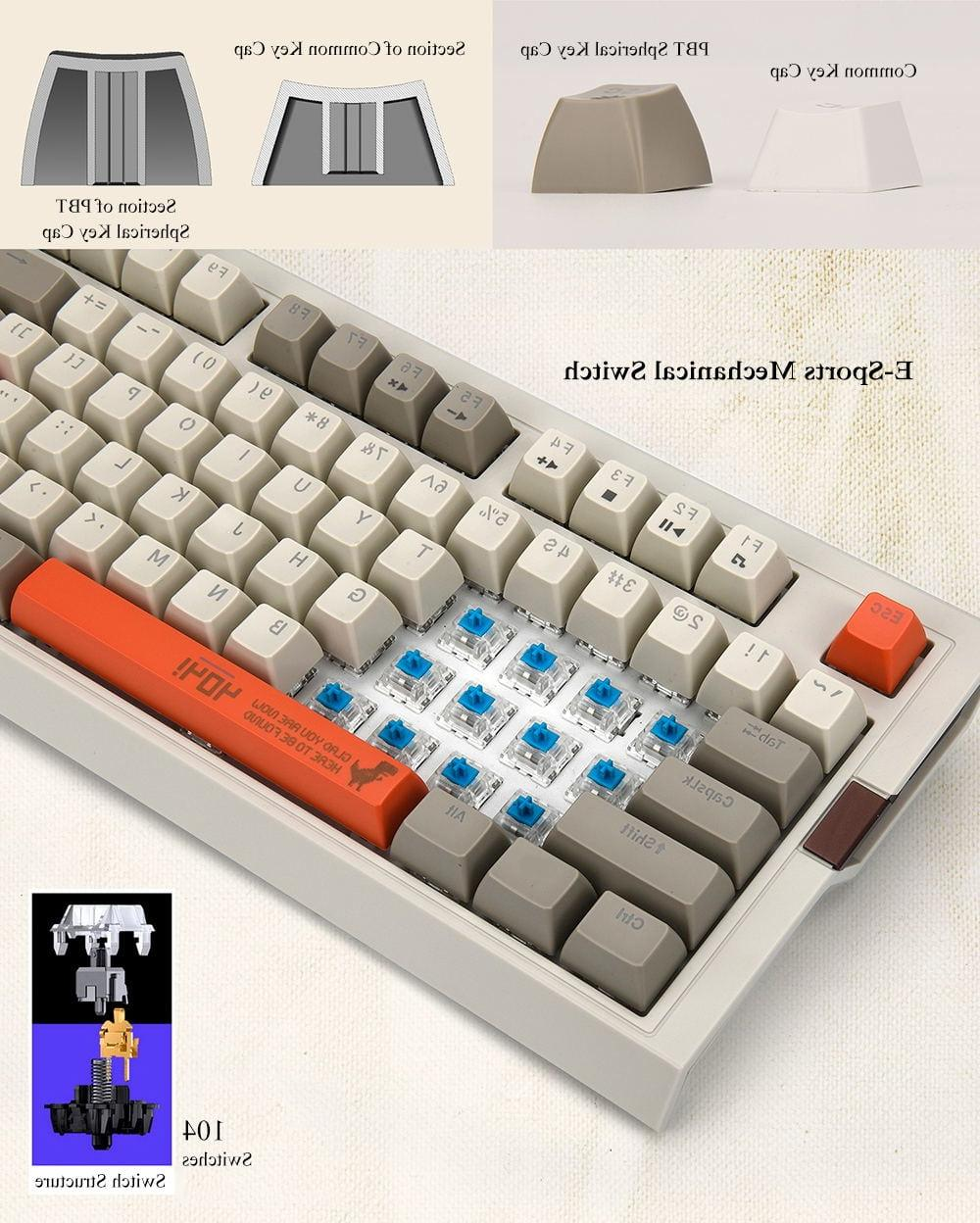 <font><b>Ajazz</b></font> Retro <font><b>Mechanical</b></font> PBT Ball Brown Switch Grey Classics Version <font><b>Keyboard</b></font>