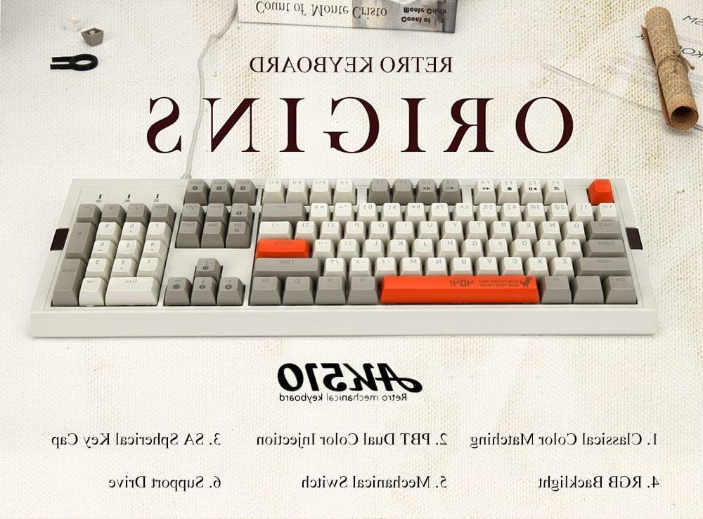 <font><b>Ajazz</b></font> AK510 Retro RGB <font><b>Mechanical</b></font> 104 PBT Key Brown Black Switch Classics Wired