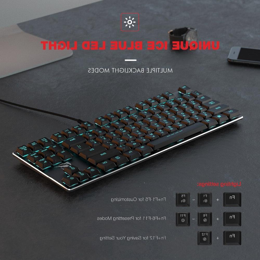 HAVIT <font><b>Mechanical</b></font> 87 Keys Low Axis Extra-<font><b>Thin</b></font> Mini Blue Switche PC/Laptop