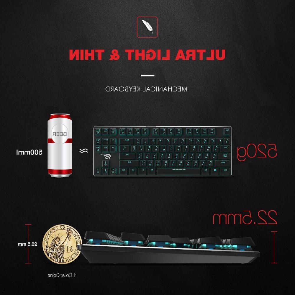 Keys Ultra Axis Extra-<font><b>Thin</b></font> Mini Gaming <font><b>Keyboard</b></font> Blue HV-KB390L