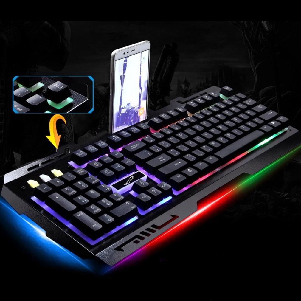 G700 USB feeling <font><b>Keyboard</b></font> led Backlight <font><b>Keyboard</b></font> PC Computer Gamer with phone