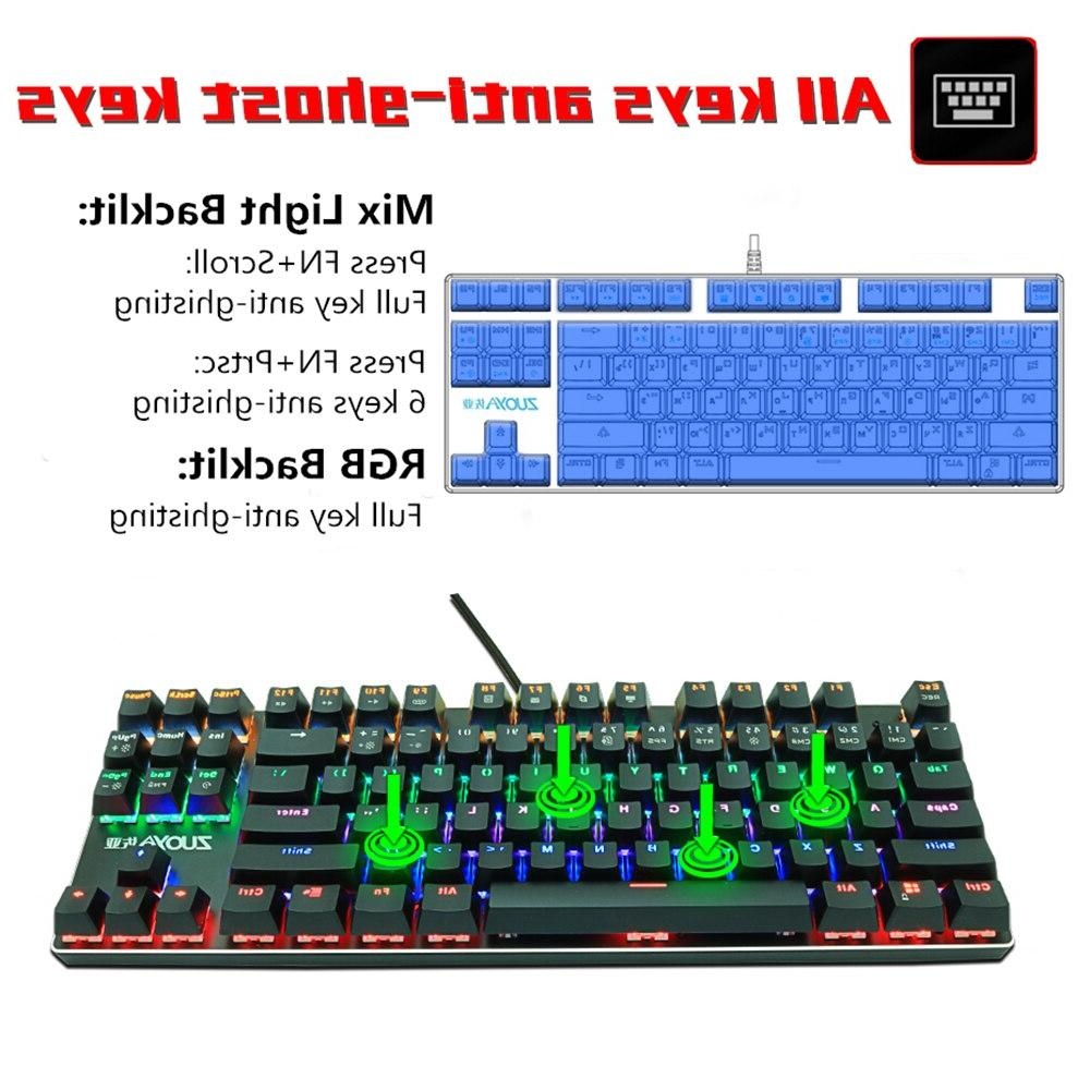 ZUOYA 87 keys Blue Red Switch light wired Ru/US Gaming for PC Laptop