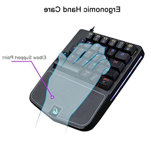 Game LED Keyboard-K9 28 Keys 】Ergonomic Hand Gaming Keyboard- For PLAYERUNKNOWN'S BATTLEGROUNDS Game