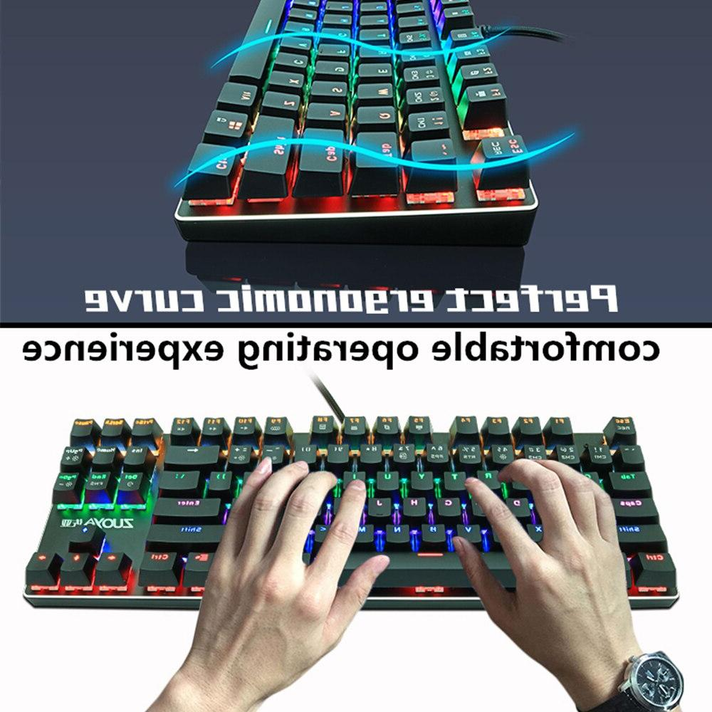 Gaming Red Switch 87key Wired <font><b>Keyboard</b></font> Anti-ghosting Mix Backlit LED For