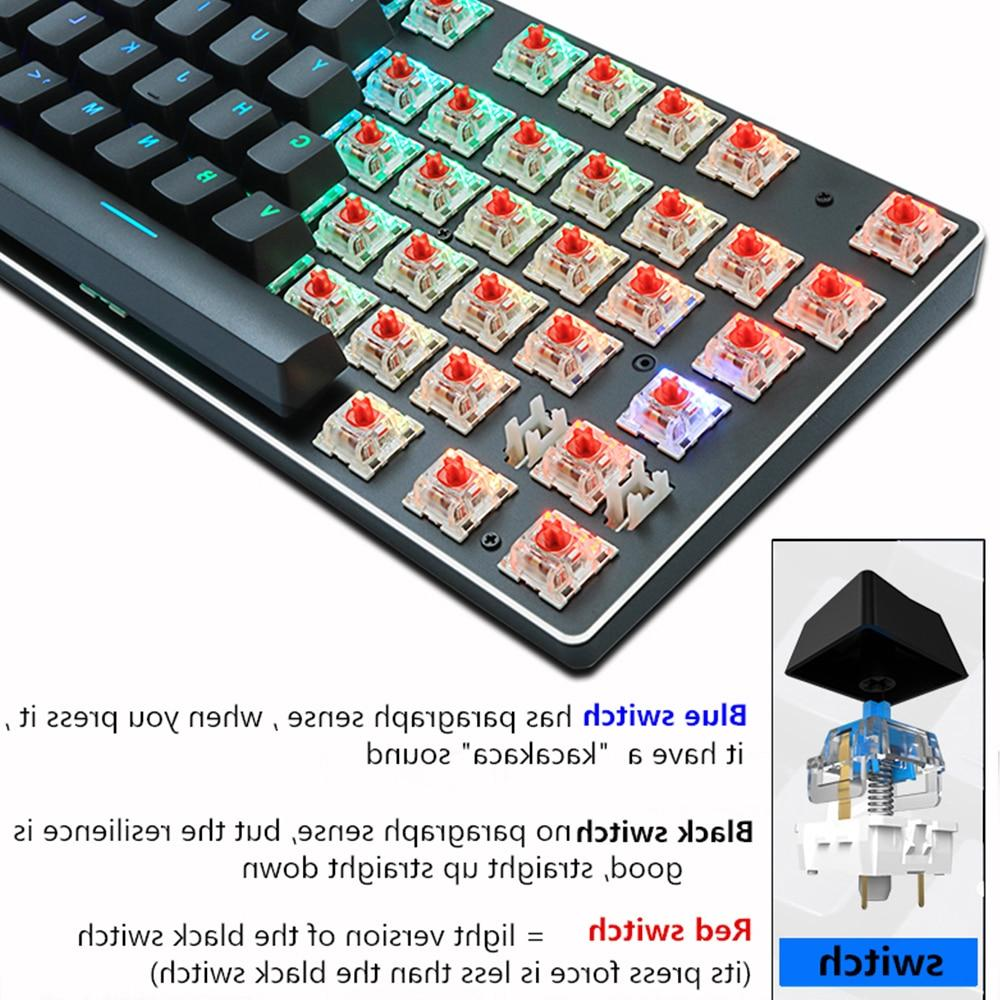 Gaming <font><b>Mechanical</b></font> Blue Red Switch 87key Wired Anti-ghosting RGB/ Mix Backlit For <font><b>PC</b></font>