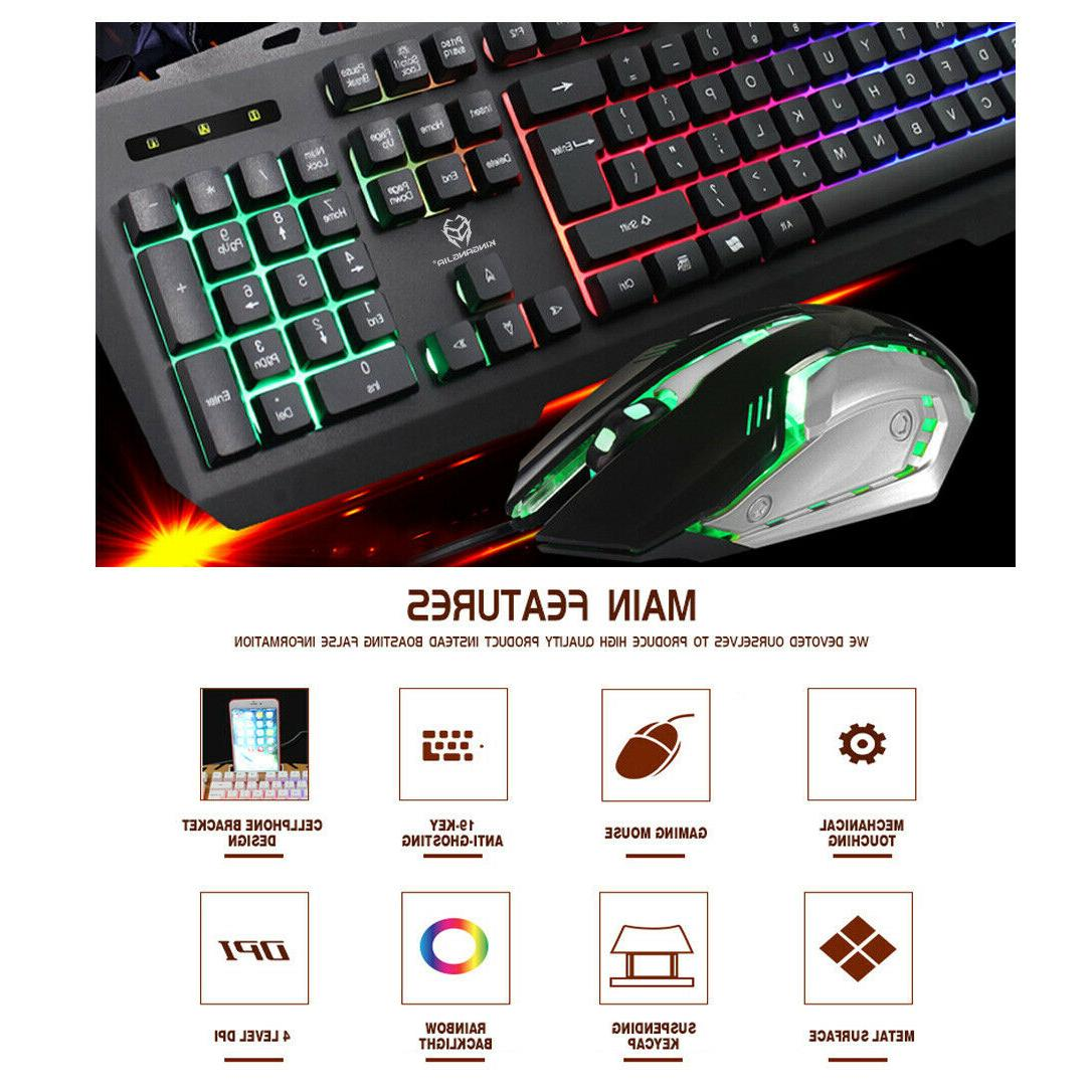 Gaming Keyboard & LED Mechanical Feel 2400 DPI