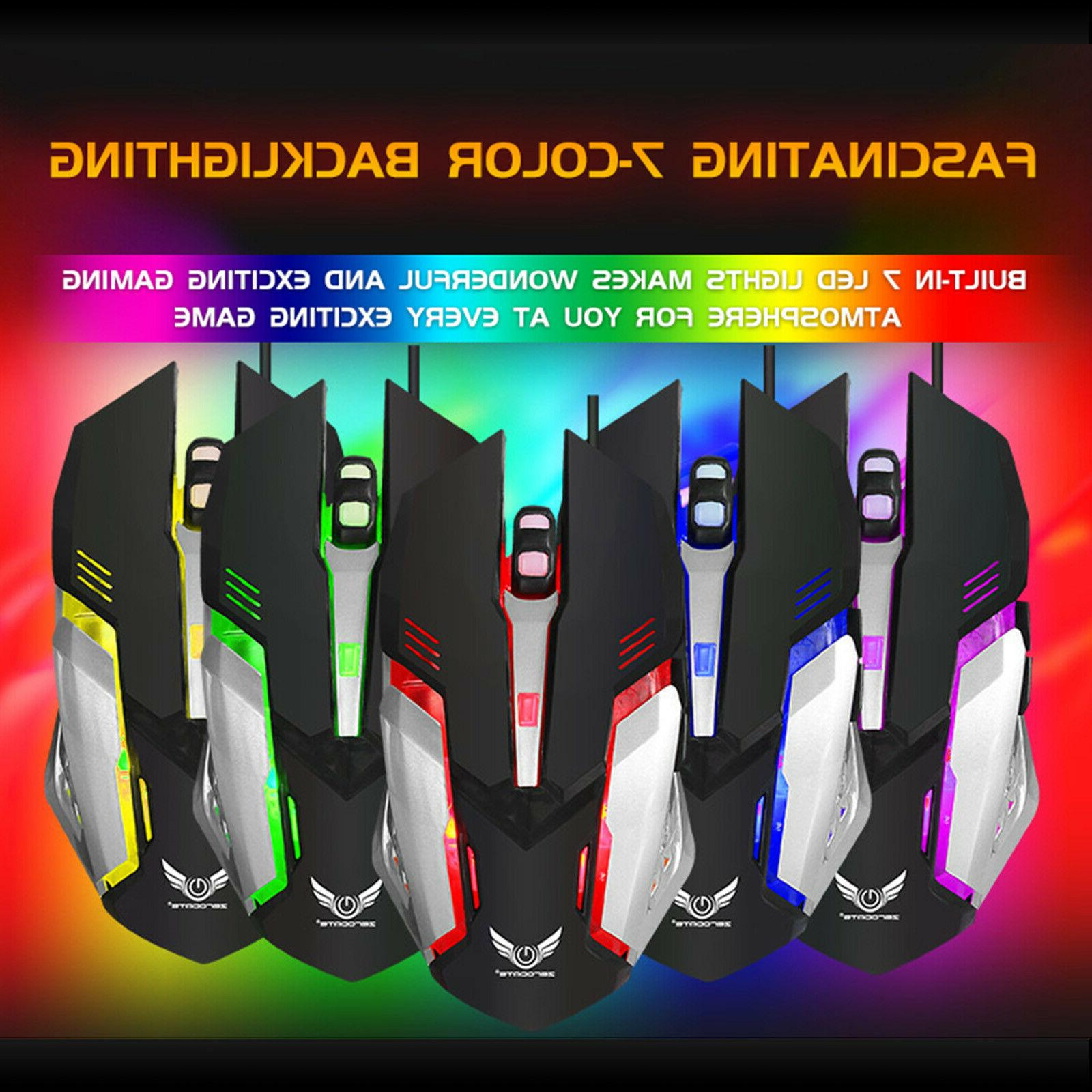Gaming Keyboard Mouse Combo RGB LED Feel DPI