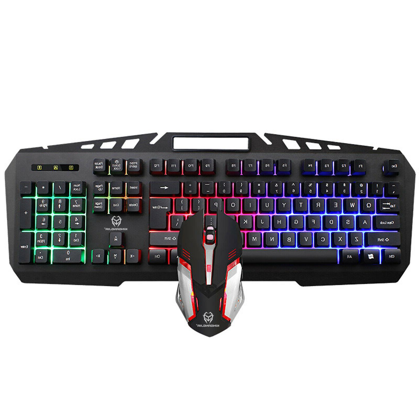 2400 DPI Gaming Keyboard & Mouse Combo Rainbow RGB Backlit L