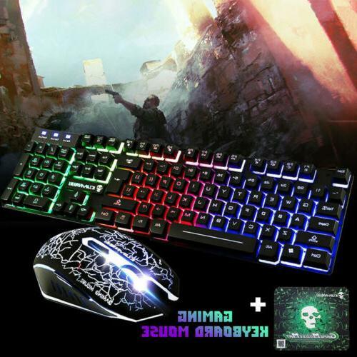 LED Illuminated Gaming Keyboard Wired Backlit PC Mechanical