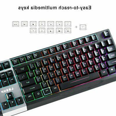 LED Keyboard & Mouse Mechanical Breathable Light Backlit for PC