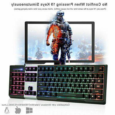 LED Gaming & Mouse Mechanical Breathable Light Backlit PC
