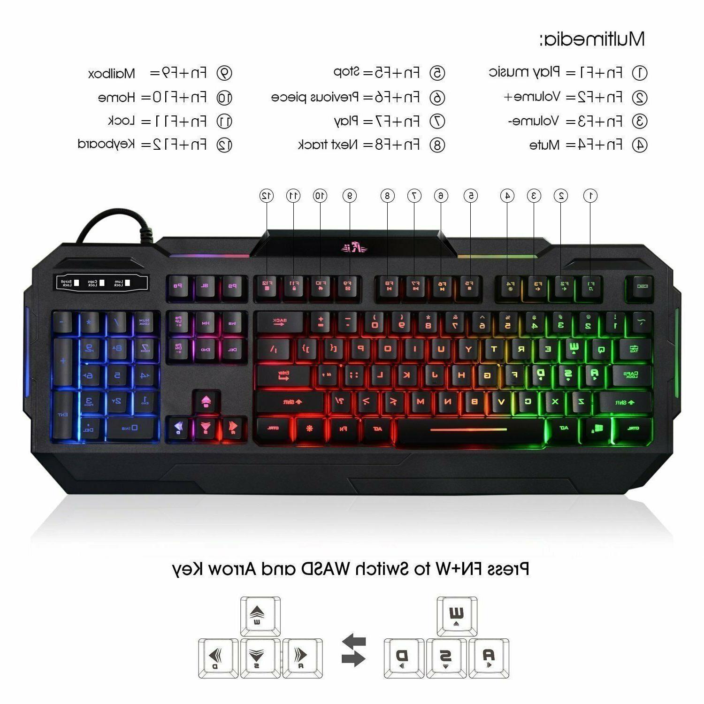 Gaming Keyboard Backlit PC Mechanical Backlight LED Illuminated