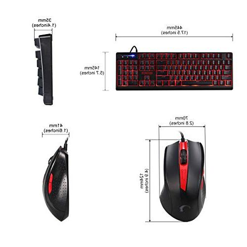 RECCAZR Gaming Gaming Mouse Wired Mechanical 3 Colors Backlit Spill-Resistant with Wrist Keyboard Gaming and