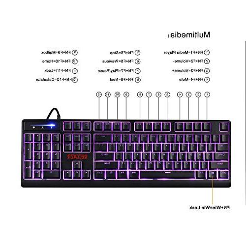 RECCAZR Gaming Gaming Combo – 3 Colors LED Backlit Spill-Resistant Wrist Rest, Keyboard Gaming Typing