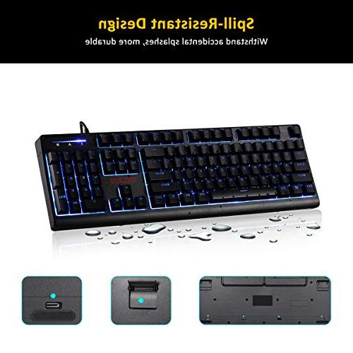 RECCAZR Keyboard and Gaming Wired Keyboard, 3 LED Backlit Spill-Resistant Wrist Keyboard Gaming and Typing