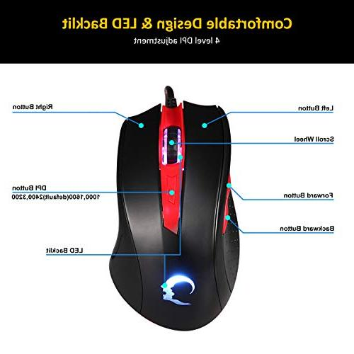 RECCAZR Keyboard and Wired Mechanical 3 Spill-Resistant Wrist Rest, Gaming