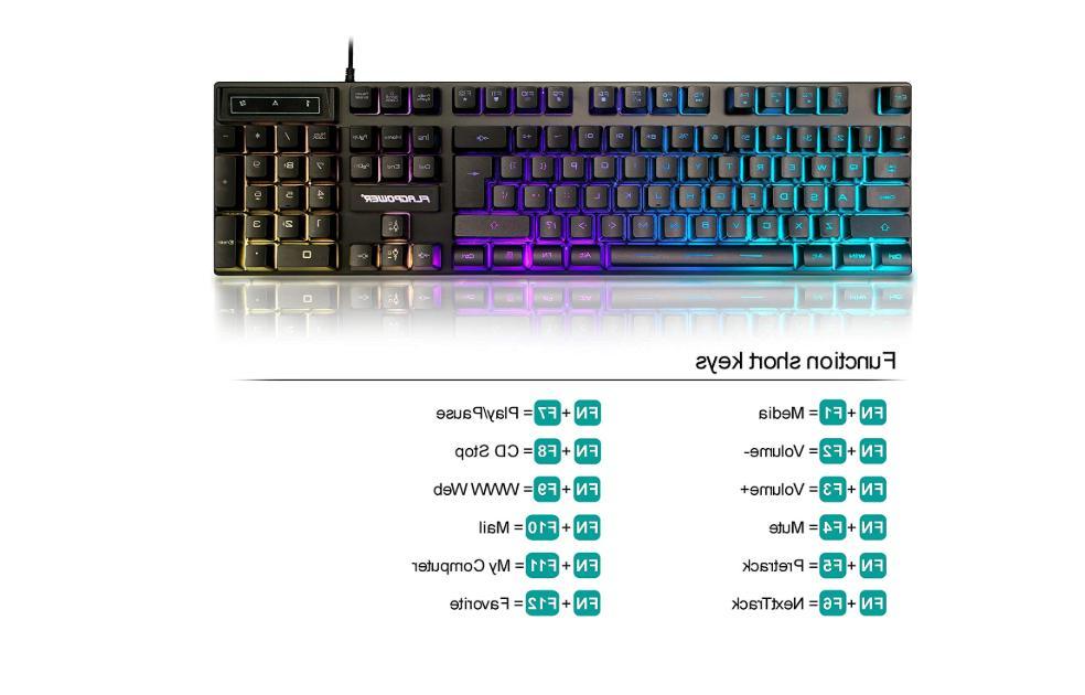 Gaming Keyboard Set Bundles Multi-color Computer