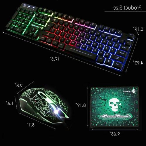 Gaming Keyboard Mouse Set Rainbow Backlit for PS4 Slim