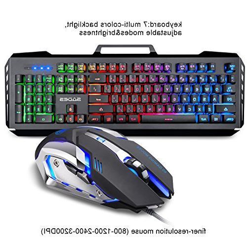 Gaming Keyboard Combo,SADES Gaming Mouse and Keyboard,Wired Lights 4 Adjustable Gaming