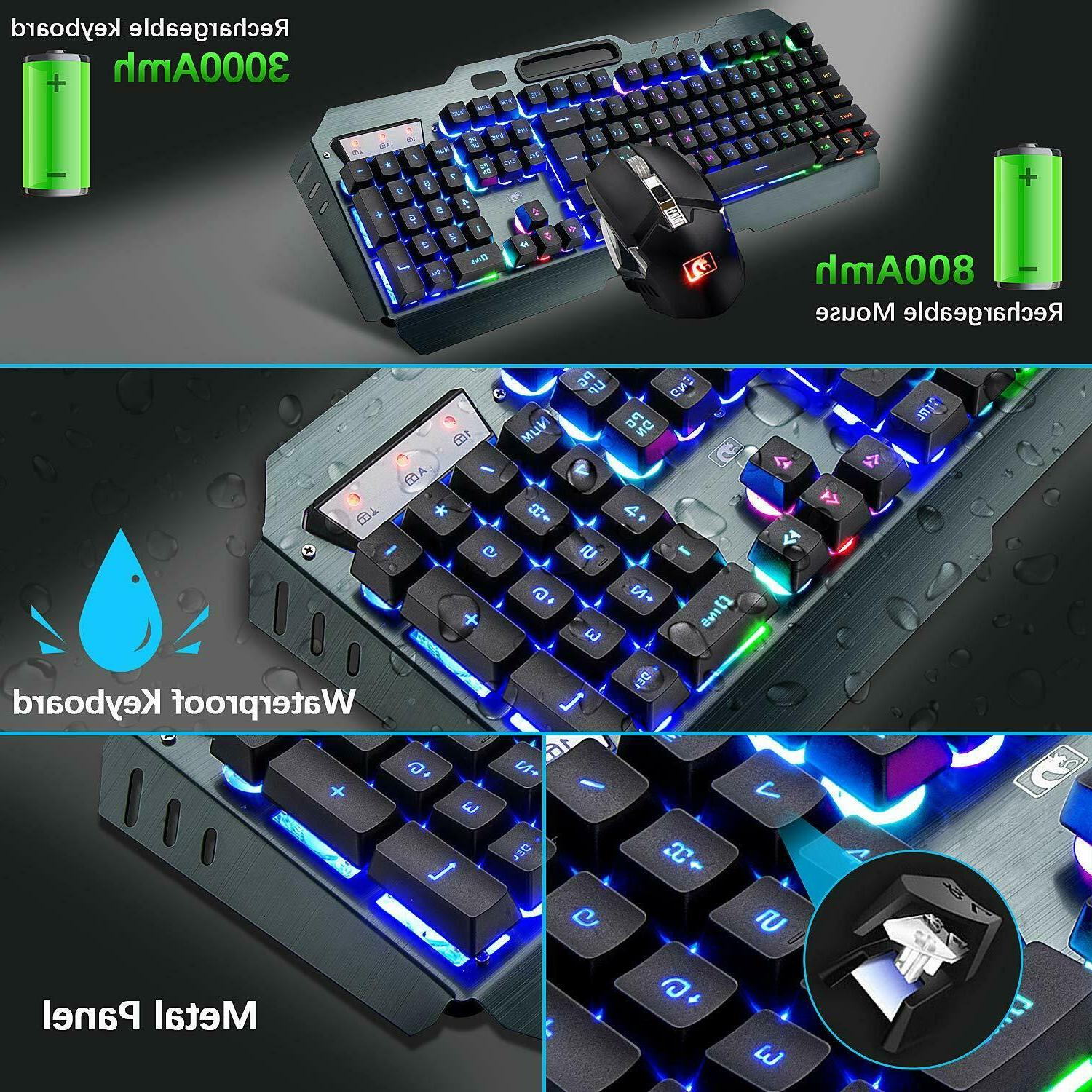 Rainbow Backlit Rechargeable Mechanical Feel Gaming Mouse Sets