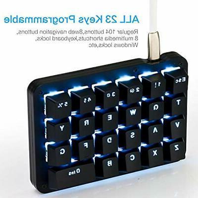 Koolertron Gaming Keyboards One Handed Macro Mechanical LED