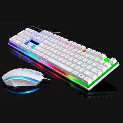 Computer Desktop Gaming Keyboard & Mouse Mechanical Feel Led