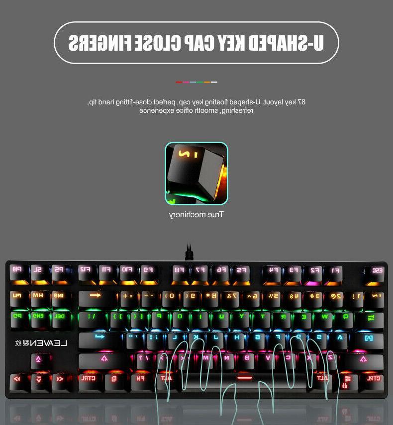 Mechanical LED Rainbow Backlit Wired Keyboard Mac