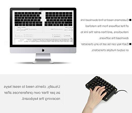 Koolertron Gateron Programmable Gaming Gaming Keyboard 43 Programmable Single-Handed Keypad Macro Setting )