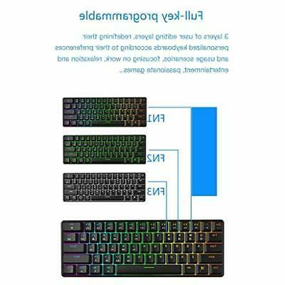 GK61 Gaming - Color RGB Illuminated LED Backli