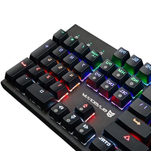 HolidaySaledeep Merdia Mechanical Keyboard Gaming Keyboard with Brown Colors Led Backlit Full Size 104 US Layout