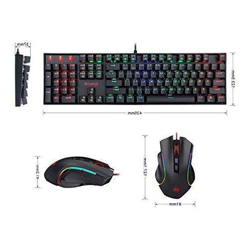 Redragon K551-RGB-BA Gaming Keyboard and Mouse Wired RGB Backlit 104 Computer Keyboard Blue Switches ABS-Metal Backlit PC M602