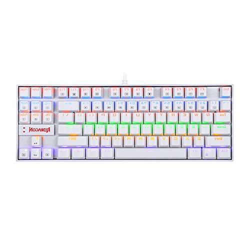 Redragon Rainbow Backlit Keyboard Keyboard 87 Metal PC Computer Gaming Blue Equivalent Switches