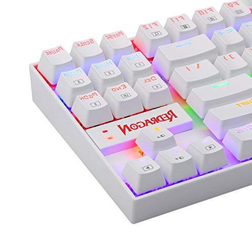 Redragon Rainbow Backlit Mechanical Keyboard Keyboard 87 PC Computer USB Gaming Keyboard Cherry MX Blue Switches