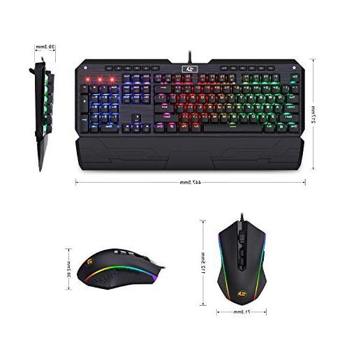 Redragon BA Keyboard Mouse Wired USB RGB Backlit Gaming Keyboard Keys Wrist Rest + Gaming