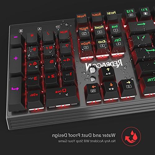 Redragon K570 Backlit Keyboard, Blue Switch, Solid Aluminum Base,104 Keys Anti-ghosting