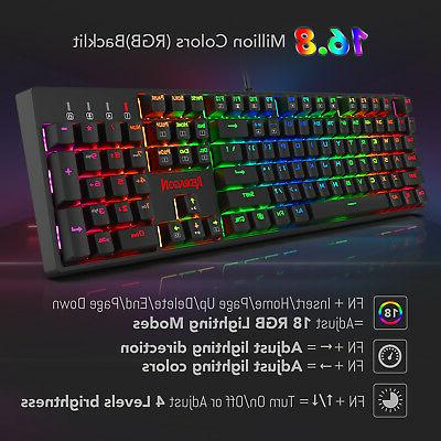 Redragon RGB Backlit Mechanical Keyboard 104 Keys Red