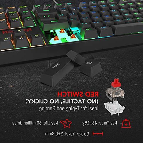 Redragon LED Backlit Mechanical Keyboard with104 and Quiet-Red Switches