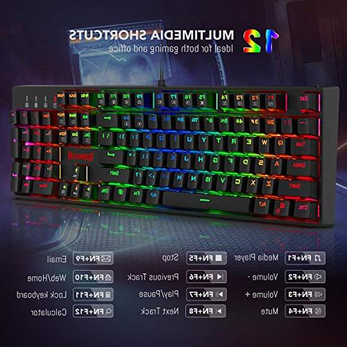 Redragon K582 LED Backlit Keyboard with104 Keys-Linear Quiet-Red