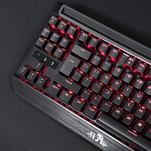 Rii K63C Gaming Keyboard,87keys Gaming Keyboard,Blue 3 Macro Keys PC, Mac