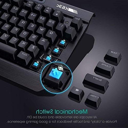 Rii Mechanical Gaming Keyboard,87keys Gaming Keyboard,Blue Switch with 3 PC,