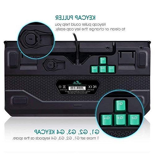 Rii Mechanical Backlit Keyboard, K63C Gaming Anti-ghosting Gaming 3 Keys for PC, Windows