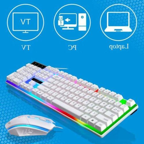 Keyboard and Wired Set LED Mechanical Rainbow Colorful Backlight
