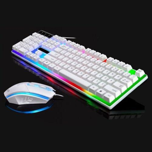 Keyboard Set LED Mechanical Gaming Rainbow Colorful Backlight