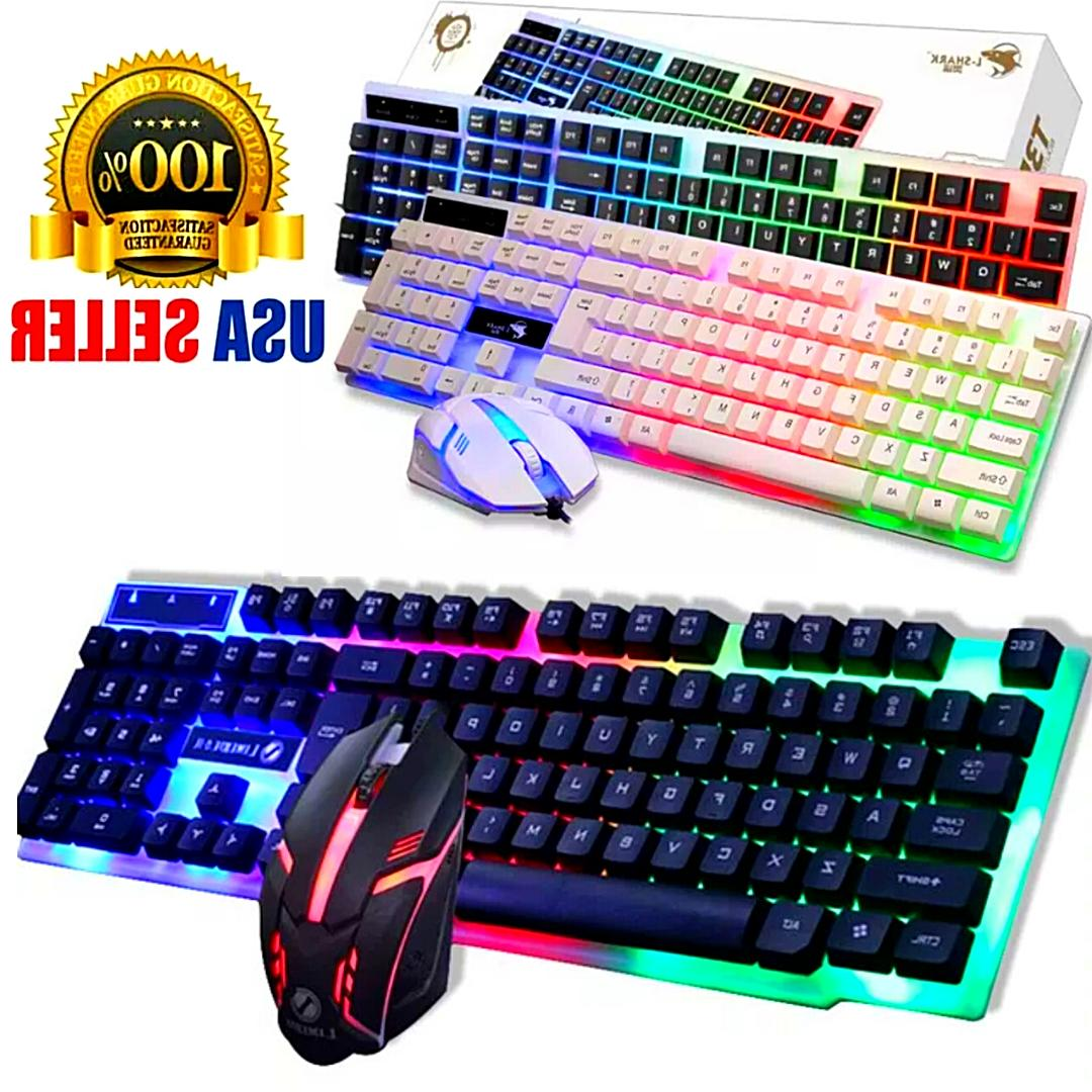 Keyboard Mechanical Combo Gaming Led Set Compatible For Wired