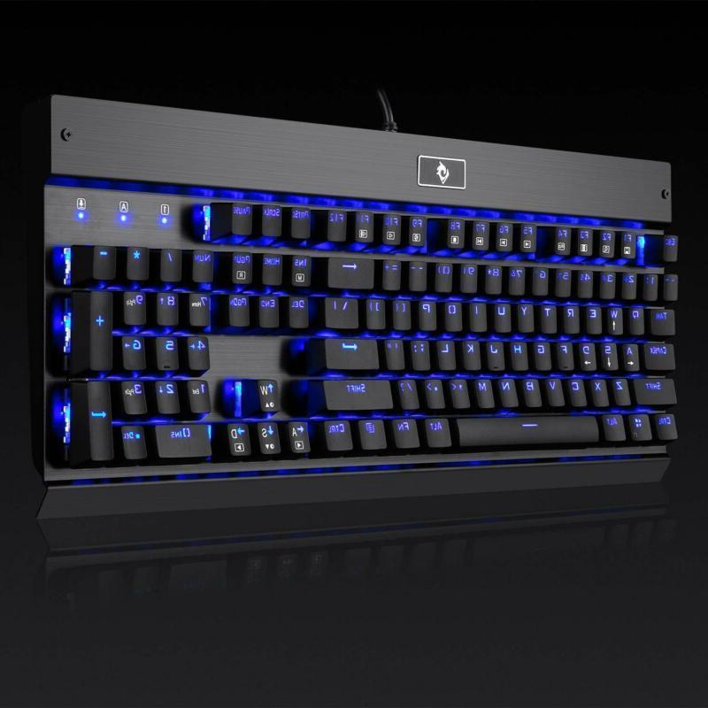 Eagletec KG010 Mechanical Blue Switches 104 Keys Natural