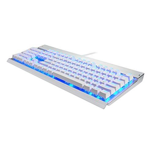 Eagletec Mechanical USB Wired Natural Ergonomic Keyboard, Aluminium, and Blue Switch with 104 Illuminated LED Keys Windows