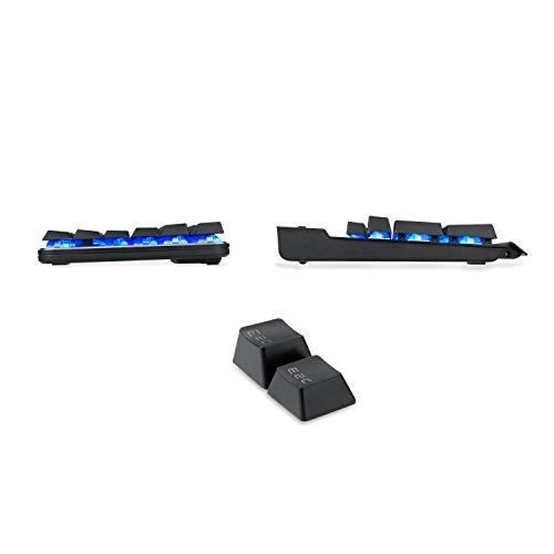 EagleTec KG050-BR Blue Backlit Gaming Keyboard, Low Profile USB with Cherry Brown PC -