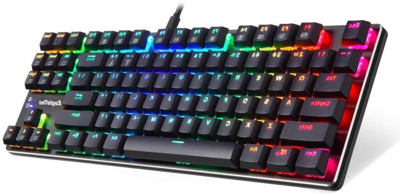 EagleTec KG060-BR RGB LED Backlit Mechanical Gaming Low Profile Mechani